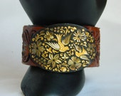 Unique Hand Made Vintage Tooled Belt Cuff with Brass etched Doves,,,BoHo,hippie,