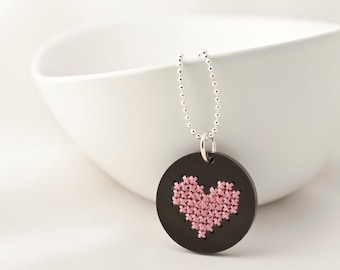 Cross Stitch Kit, DIY Jewelry Kit, Embroidered Jewelry, Black Acrylic Pendant with Stitched Heart, Valentine's Day