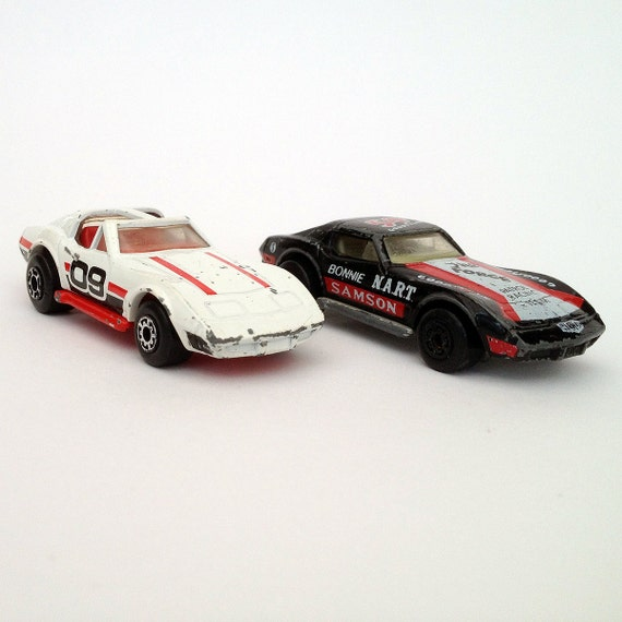 Two vintage Superfast Matchbox toy cars, Chevrolet Corvettes from 1979