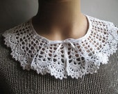 Lace Collar in White Hand crocheted Detachable  Necklace  women fashion Accessories Cotton Peter Pan Holiday gift  new