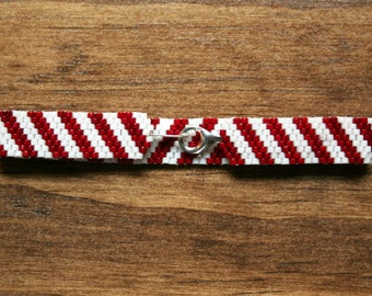 Red and White Candy Cane Striped Christmas Peyote Bracelet - Made To Order - Pick a Size