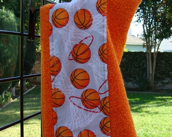 Basketball & Hoops Bright Orange Hooded Bath Towel, Made in the USA