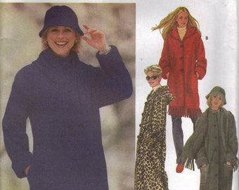 Simplicity Sewing Pattern 5866 - Misses' Coat, Scarf, and Hat (XS-M)
