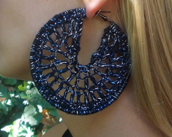 Large, Round, Hand Crocheted, Black, Metallic Blue and Silver, Black Colored Hoop Earrings for Women