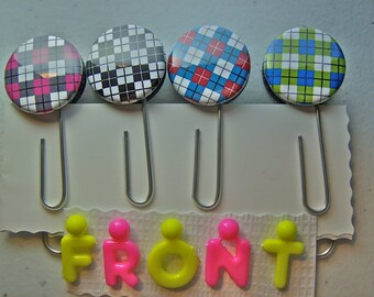 Argyle Colorful Print Pattern Jumbo Paper Clips / Bookmarks. Set of Four.