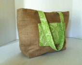 """Salvaged  Coffee Bag Burlap Tote-( Small) """"Sol & Cafe"""" Intricate Green Lines with a Geometric Chocolate Brown"""
