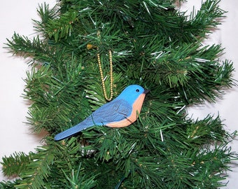 Bluebird Christmas ornament,hand carved and painted song bird by Randy & Elaine Fisher ,FISHER WILDLIFE