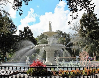 Forsyth Park Fountain No. 4 - 8x10 - Savannah, Georgia - Beautiful Fountain - Ready to Frame