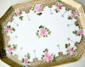 SALE Antique Nippon Porcelain Pink Rose and Gold Perfume Tray Vintage Dresser China Jewelry Vanity