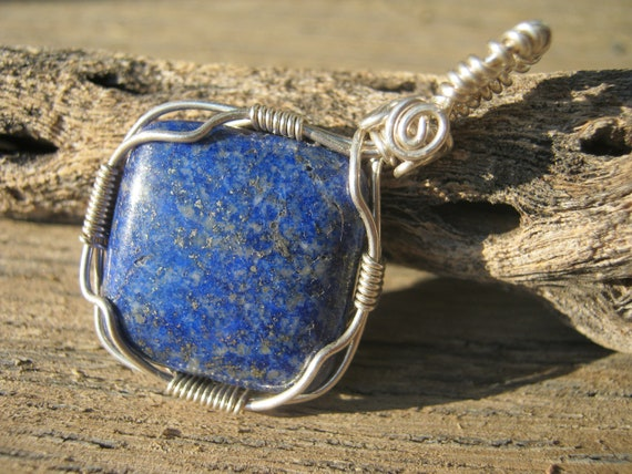 Lapis Lazuli Wire Wrapped Sterling Silver Fill Pendant