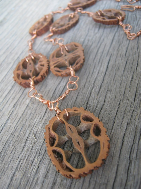 Walnut Shell Necklace, Hand Linked Nature Necklace, Copper Necklace, READY To SHIP