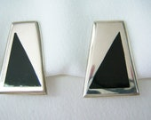 Geometric Mexican silver earrings in silver and black