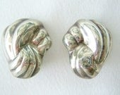 Shell form Mexican Taxco silver earrings