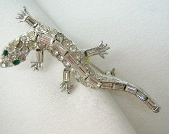 Rhinestone lizard brooch