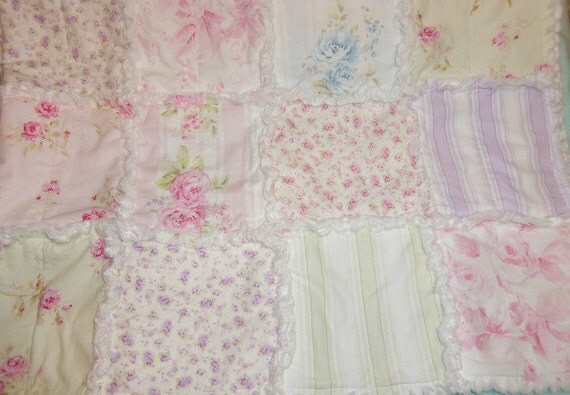 Ragged Lap Quilt, Beach Cottage, Country Chic and Shabby Style colors