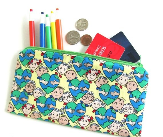 Kids Zipper Pencil Case Earth Day  Pencil Pouch Back to School Crayon Pouch