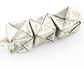 One Tibetan Silver Woven Antique Cube Box Bead 18mm x 18mm