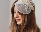 Bridal Hat, angel Wing, Ivory, Wedding Headpiece,Veil, Silk, Bride, Brides Maid, Attendant Gift, Ship Ready