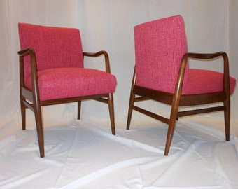 Phillip Lloyd Powell Style Mid Century Modern Arm Chairs