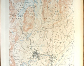 Antique Rare NEW YORK, Glen Falls & Surrounding Areas, 1909 Very Fine US Geological Survey Topographic Map All Original Untouched Map