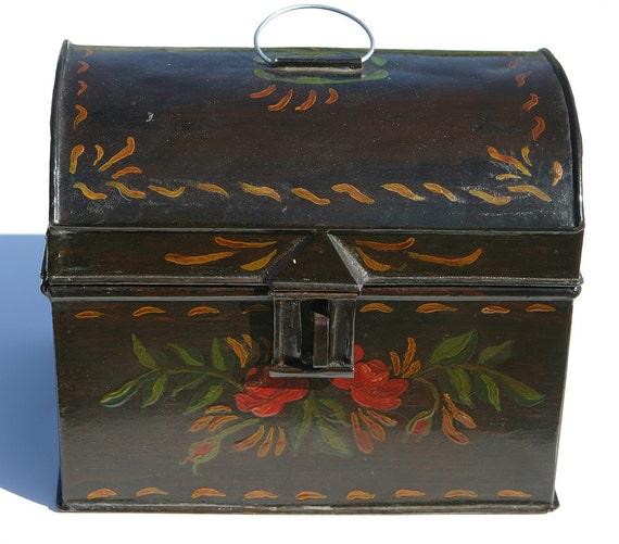 Antique rare 1800s primitive Vermont Farm Folk Art Tin Toleware Hand Painted Large Document Box All Hand Painted