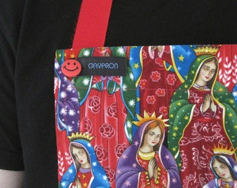 GAYPRON SALE! - Unisex apron in fabulous Lady of Guadalupe fabric - perfect for the Christmas Chef!