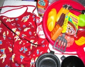 Junior Top Chef Set.....Vintage Apron.....Pots Utensils Pans.....Play Food....Gourmet Chef and Chefette..... Carry Tote...CF1