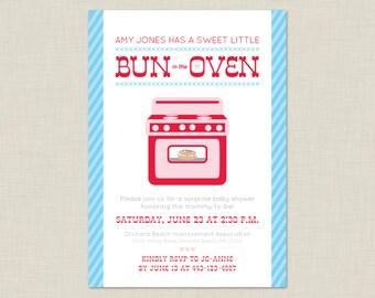 Printable / Bun in the Oven Invitation / Baby Shower Invitation