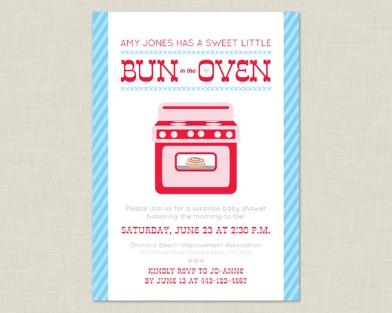 bun in the oven invitation baby shower by poundcakepress on etsy
