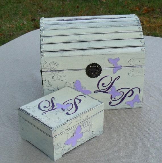 Shabby Chic Wedding Card Box, Ring Bearer Box Set, Wedding Chest, Wedding Decoration, Wedding Keepsake Box, Memory Box, Personalized,