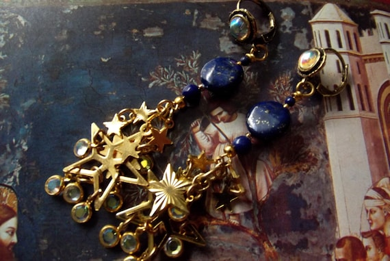 "Earrings Handmade Lapis Lazuli ""Blue Moon and Stars"" with Vintage Crystals 24kt GP Channels"