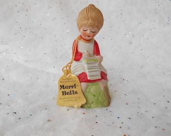 Christmas Ornament Bell Girl,  Merri-Bells, JASCO, Girl Composing Christmas List