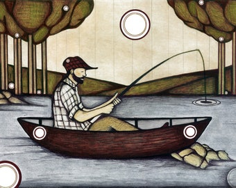 Fisherman Drawing, Illustration of Fisherman in a Canoe, Outdoorsy Nature Fishing Poster, Fishing Home Art Decor