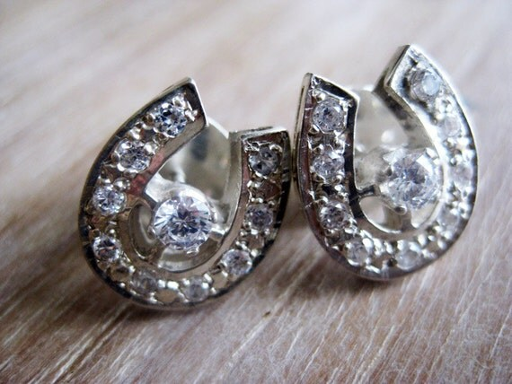 Lucky Charms Vintage Silver Horseshoe Earrings with CZ (Cubic Zirconia) from the Philippines