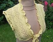 Women Lace Knitting Bolero, Tie Women Bolero, Yellow Women Shrug, Capelet