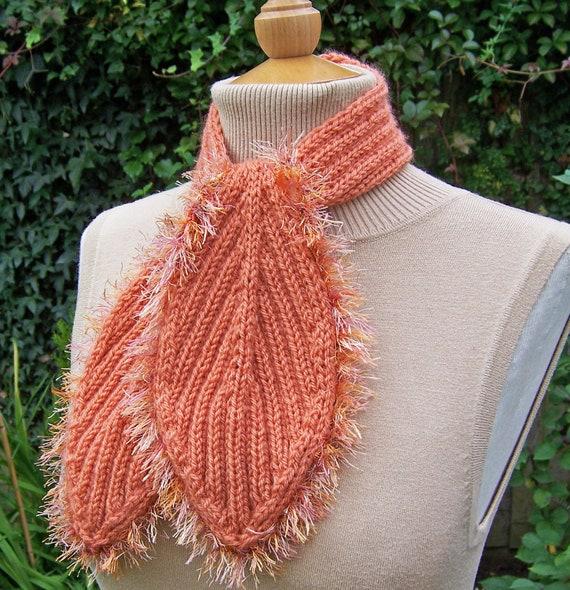 Knit Leaf Scarf, Women Orange Scarf, Tie Scarf,Handknitted Scarf in Orange,  UK Seller