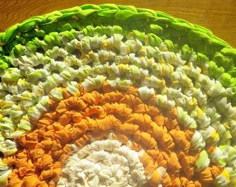 Artisan Crochet Rag Rug Summer to Fall Cottage Chic Eco Friendly Round Textile Art Pet Mat Dorm Kitchen Nursery Baby