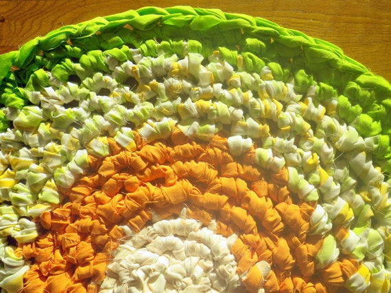 Artisan Crochet Rag Rug Summer to Fall Cottage Chic Eco Friendly Round Textile Art Pet Mat Dorm Kitchen Nursery Baby