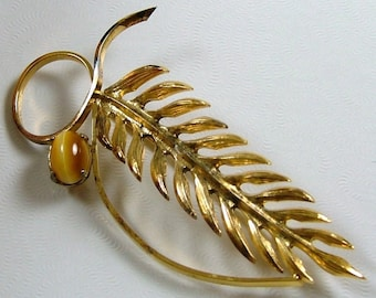 WELLS JEWELRY Vermeil Leaf with Tiger's Eye Brooch