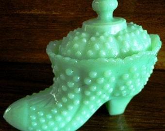 vintage Fenton art glass - large JADITE Green HobNail POWDER BOOT w lid ..