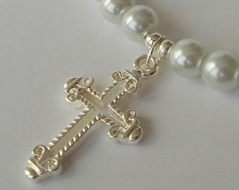 Silver Cross With White Pearl Necklace Silver Cross Necklace Cross Necklace White Pearl Necklace