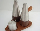 Mid Century Modern Teak Pewter Salt and Pepper Set with Caddy
