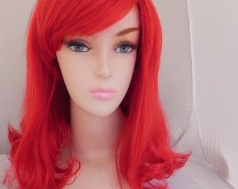Cherry Red / Medium Curly Straight Layered Wig