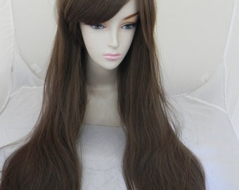 Light Brown / Long Wavy Straight Layered Wig Extra Thick