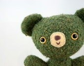 O'Rielly - Teddy Bear -OOAK Felted Amigurumi -  St. Patrick's Day Plush Toy for Children or Art Bear Collectors