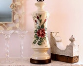 Romantic Red Roses Lamp...Handpainted & Signed...Vintage Lighting