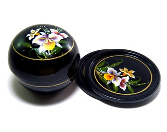 Vintage trinket box and 2 coasters, wooden black lacquered hand painted flowers round box and 2 trays