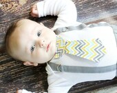 Baby Boy Tie Bodysuit or Shirt with Suspenders -  Pick your own - Chevron, Polka Dot, Stripes