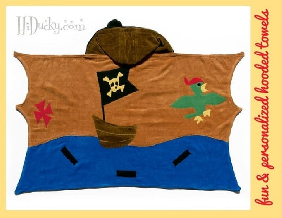 Hooded Towel Pirate TREASURE MAP with FREE Name Embroidery Cotton Towel Boy Girl Toddler Towel Beach Bath Towel Pirate Sword Baby Towel
