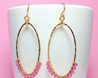 Beautiful Handmade Gold Hammered Hoop Earrings with Swarovski Crystals